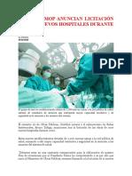 MINSAL Y MOP ANUNCIAN LICITACIÓN PARA 11 NUEVOS HOSPITALES
