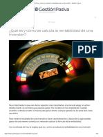 ¿Qué es y cómo se calcula la rentabilidad de una inversión_ - Gestión Pasiva.pdf