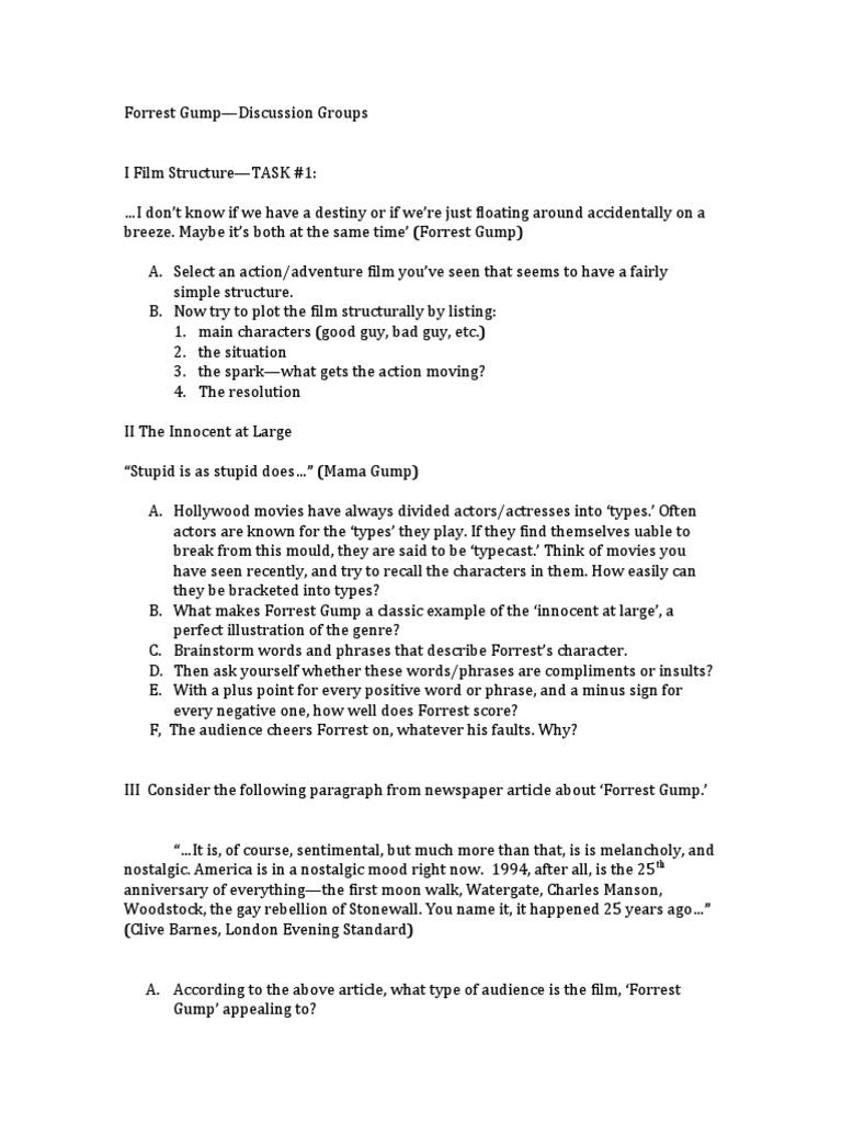 Forrest Gump Discussion Points – Forrest Gump Worksheet