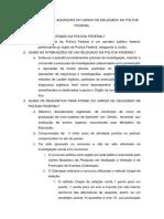 Método de Aquisição para o Cargo de Delegado da PF
