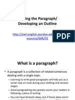 Writing the Paragraph and Developing the Outline