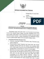SE Gub Kalteng ttg Pencegahan Pneumonia