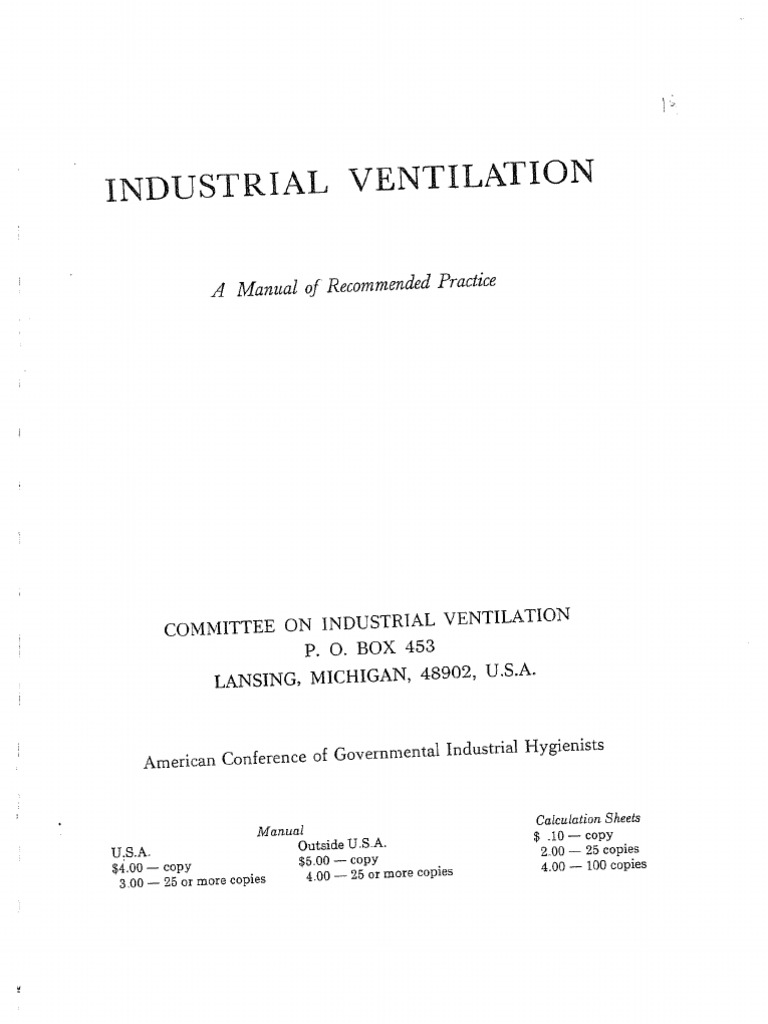 industrial ventilation design guidebook old version rh scribd com ACGIH Ventilation Standards Ventilation Manual 27th Edition