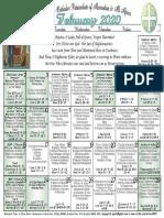 2020 February Festal Calendar