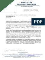 Ministerio Interior - Propuestas y Medidas - Asociación sosdesaparecidos