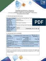 Guía de actividades y rúbrica de evaluación - Post tarea - Entrega Final del Proyecto de Grado