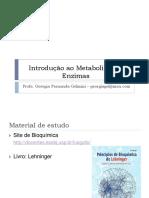 Bioquímica - Introdução ao Metabolismo e Enzimas