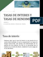 TASAS DE INTERES Y TASAS DE RENDIMIENTO
