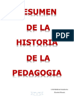 RESUMEN DE LA HISTORIA DE LA PEDAGOGIA