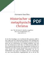 """– Historischer und metaphysischer Christus  Aus """"Die Werkstatt des Markusevangelisten - Eine neue Evangelientheorie"""", 1924, Seite 26-30."""