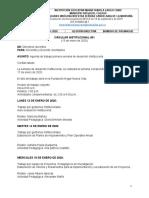 Circular 001 agenda primera semana de desarrollo Institucional 2020
