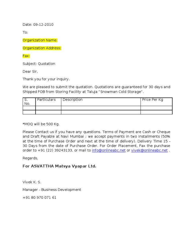 Price Quotation Format – Written Quotation Template
