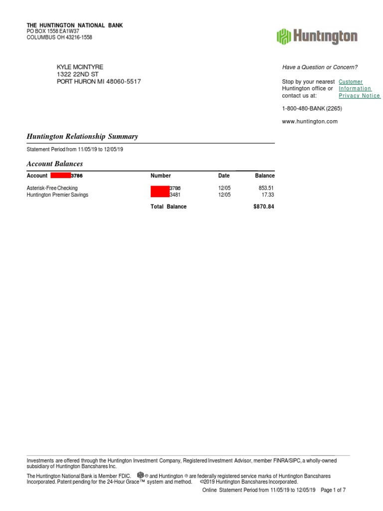 Huntington National Bank Statement Debits And Credits Service Industries