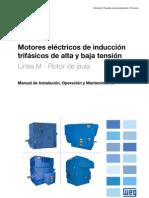 WEG Motor de Induccion Trifasico de Alta y Baja Tension Rotor de Jaula Manual Espanol
