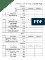 Master List of instruments