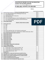 Proforma for Calculation of Income Tax for Tax Deduction