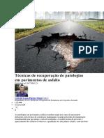 Técnicas de recuperação de patologias em pavimentos de asfalto