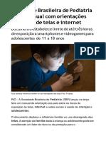 Sociedade Brasileira de Pediatria Lança Manual Com Orientações Sobre Uso de Telas e Internet - Jornal O Globo