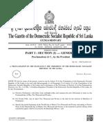 Extraordinary Gazette dissolving Parliament of Sri Lanka