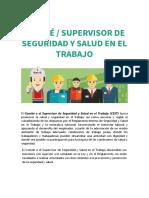 Comité o Supervisor de Seguridad y Salud en el Trabajo