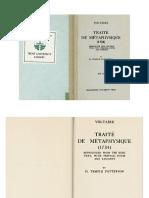 Voltaire - Traité de Métaphysique. Ed. H. Temple Patterson (Manchester UP 1937)