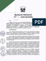 Resolución Ministerial N° 058-2020-MINAM