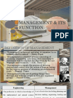 MANAGEMENT & ITS FUNCTION
