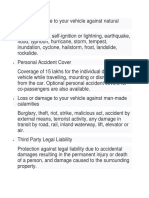 Loss or damage to your vehicle against natural calamities