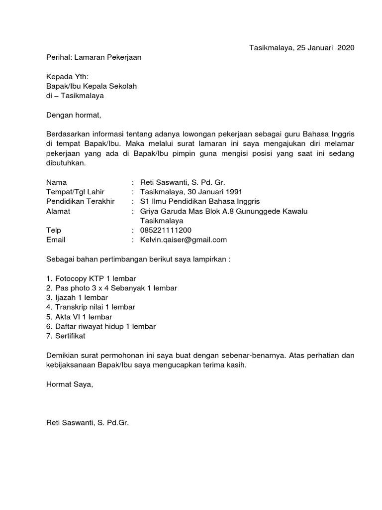 96 Contoh Surat Lamaran Pekerjaan Menjadi Guru Bahasa Indonesia