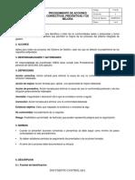 P-GI-03 Procedimiento Acciones Coretivas^J Preventivas y de Mejora