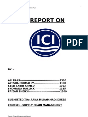 Ici Supply Chain Management Report by Ali Raza | Supply