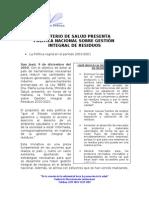 Comunicado Oficialización de Política Nacional sobre Gestión Integral de Resudios