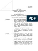01. KepMen LH No.148 Tahun 2004 Pedoman Pembentukan Kelembagaan Lingkungan Hidup Daerah