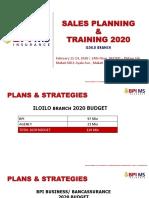 SALES PLANNING & TRAINING 2020