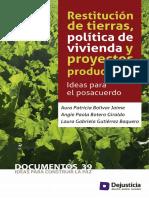 8. Restitución de tierras, política de vivienda y proyectos productivos. Ideas para el posacuerdo