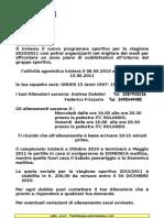 Inizio Attività 2010-201 Under 15