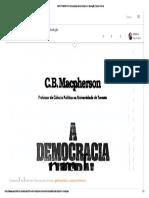 MACPHERSON Crawford Brough. A democracia liberal origens e evolução. Zahar Editores 1977 - Capítulos 2, 4 e 5