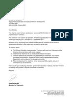 Letter to Martin Dixon from Jane Garrett - Coburg Education Implementation Taskforce