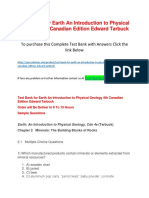 Test Bank for Earth an Introduction to Physical Geology 4th Canadian Edition Edward Tarbuck