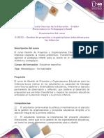 Presentación Del Curso Gestión de Proyectos y Organizaciones Educativas Para Las Infancias