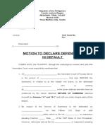 Motion to Declare Defendant in Default (pro forma)