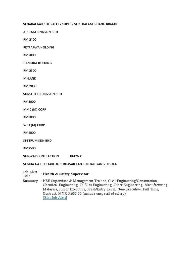 Senarai Gaji Site Safety Supervisor Dalam Bidang Binaan Malaysia