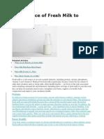 Importance of Fresh Milk to Health