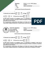 4º Examen Parcial de Matematica 2019 - Recuperación