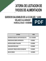 CONVOCATORIA DE LICITACION DE LOS SERVICIOS DE ALIMENTACIÓN CONV