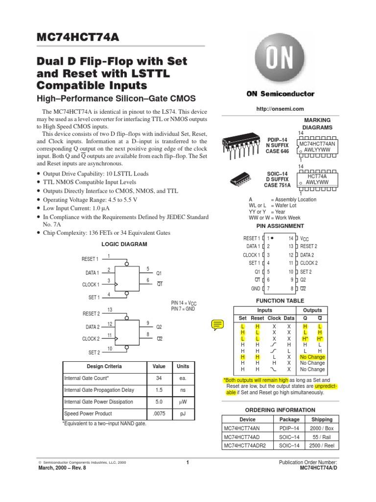 7474 Datasheet Cmos Mosfet D Flip Flop Logic Diagram
