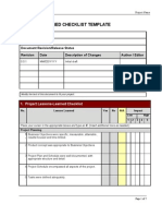 Lessons Learned Checklist Template