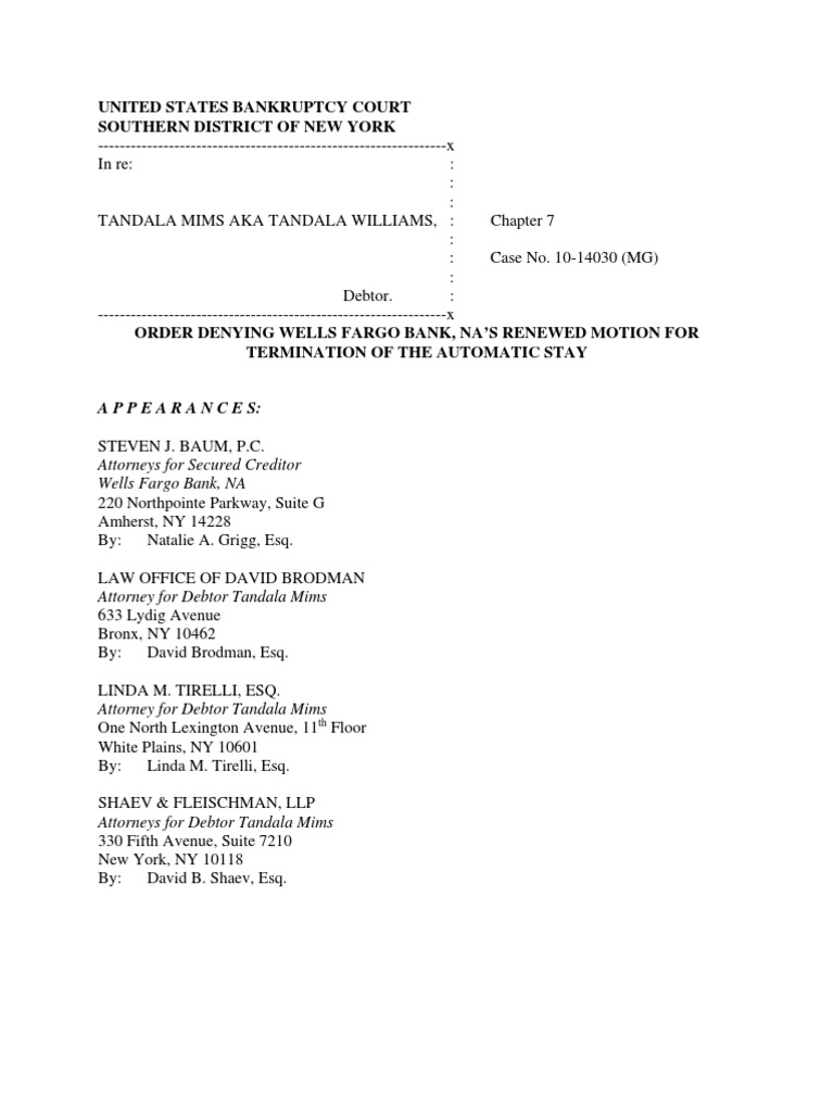 Mims Ii Order Bankruptcy Chapter 7