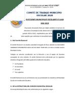 Plan de trabajo COMITÉ  MUNICIPIO ESCOLAR 2020