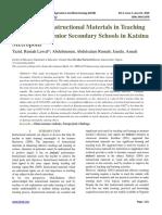 Utilization of Instructional Materials in Teaching Chemistry in Senior Secondary Schools in Katsina Metropolis
